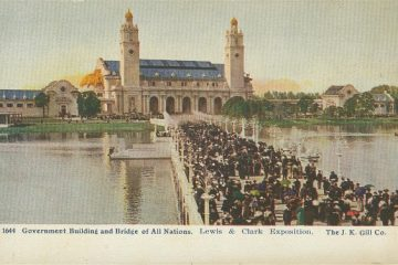 People wait in line in this illustrated postcard image of the Lewis and Clark Exposition held in 1905 in Portland Oregon