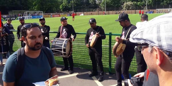 A Tamil Drum Corps plays during half time at the Tamil Eelam vs. Cascadia game yesterday. Featured in Of Politics and Fair Play