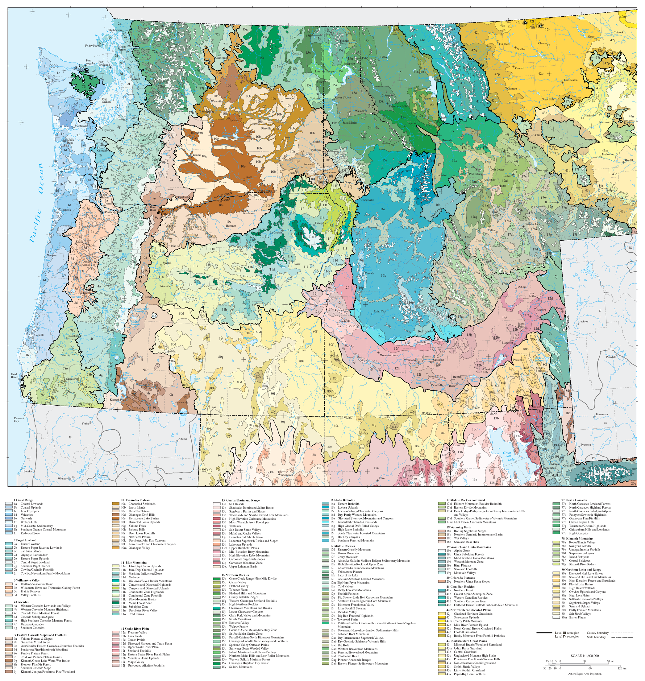Cascadia Ecoregions Map of the US Pacific Northwest ...